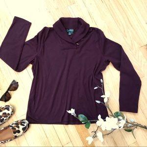 Ralph Lauren long sleeve shawl collar top shirt XL